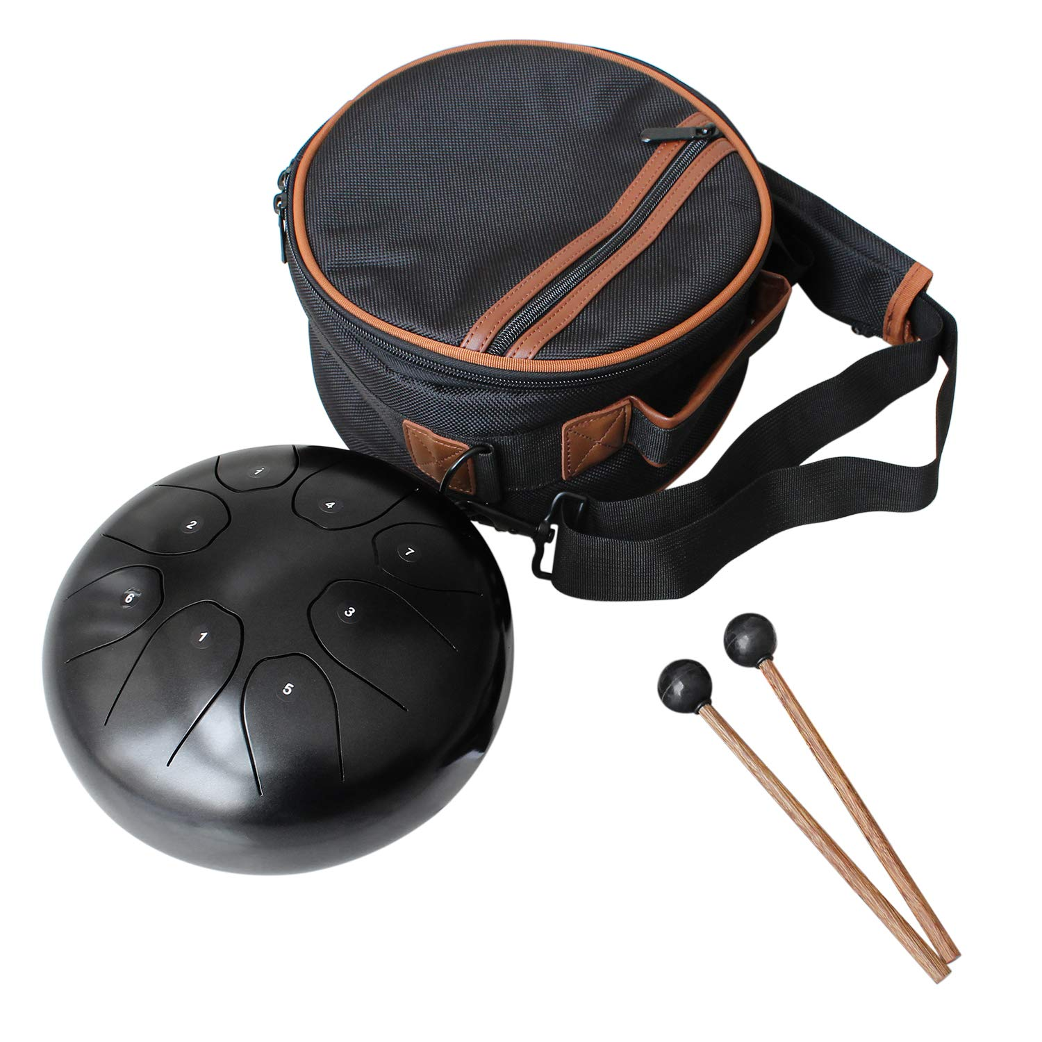 Flatsons Steel Tongue Drum Tank Drum Standard C Key 8 Notes 8 Inch Percussion Instrument with Drum Mallets Carry Bag, Black