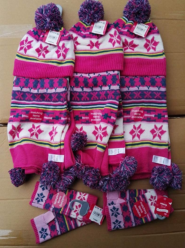 Zoylink Kids Christmas Scarf Set Fashion Winter Warm Knitted Scarf with Hat Gloves