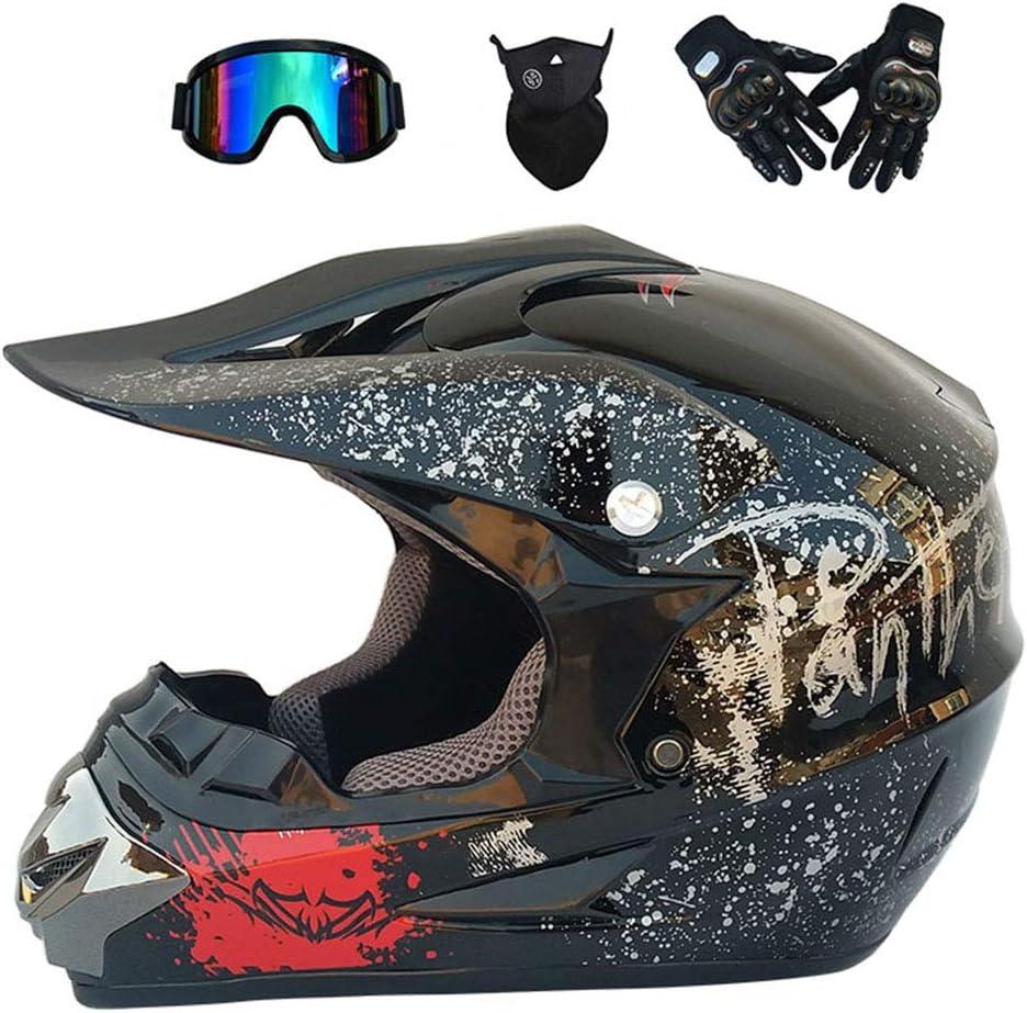 GWJ Adult Off Road Helm Dot Dirt Bike Motocross ATV Helm//Brille//Maske//Handschuhe