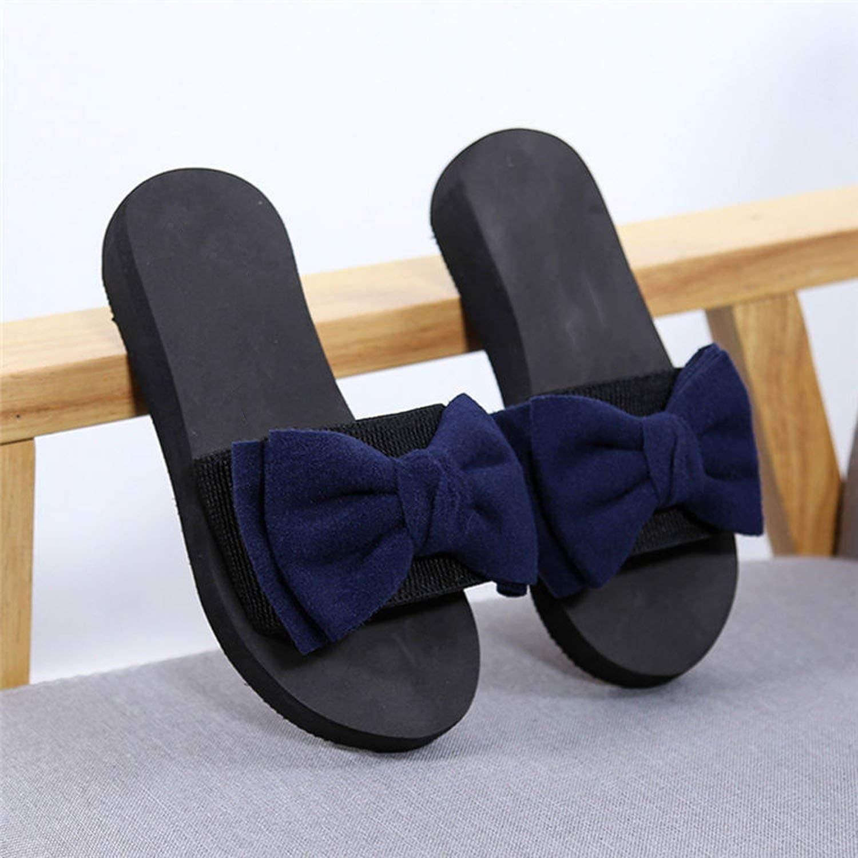 Little-Lucky Women Summer Bow Summer Sandals Slipper Indoor Outdoor Flip-Flops Beach Shoes