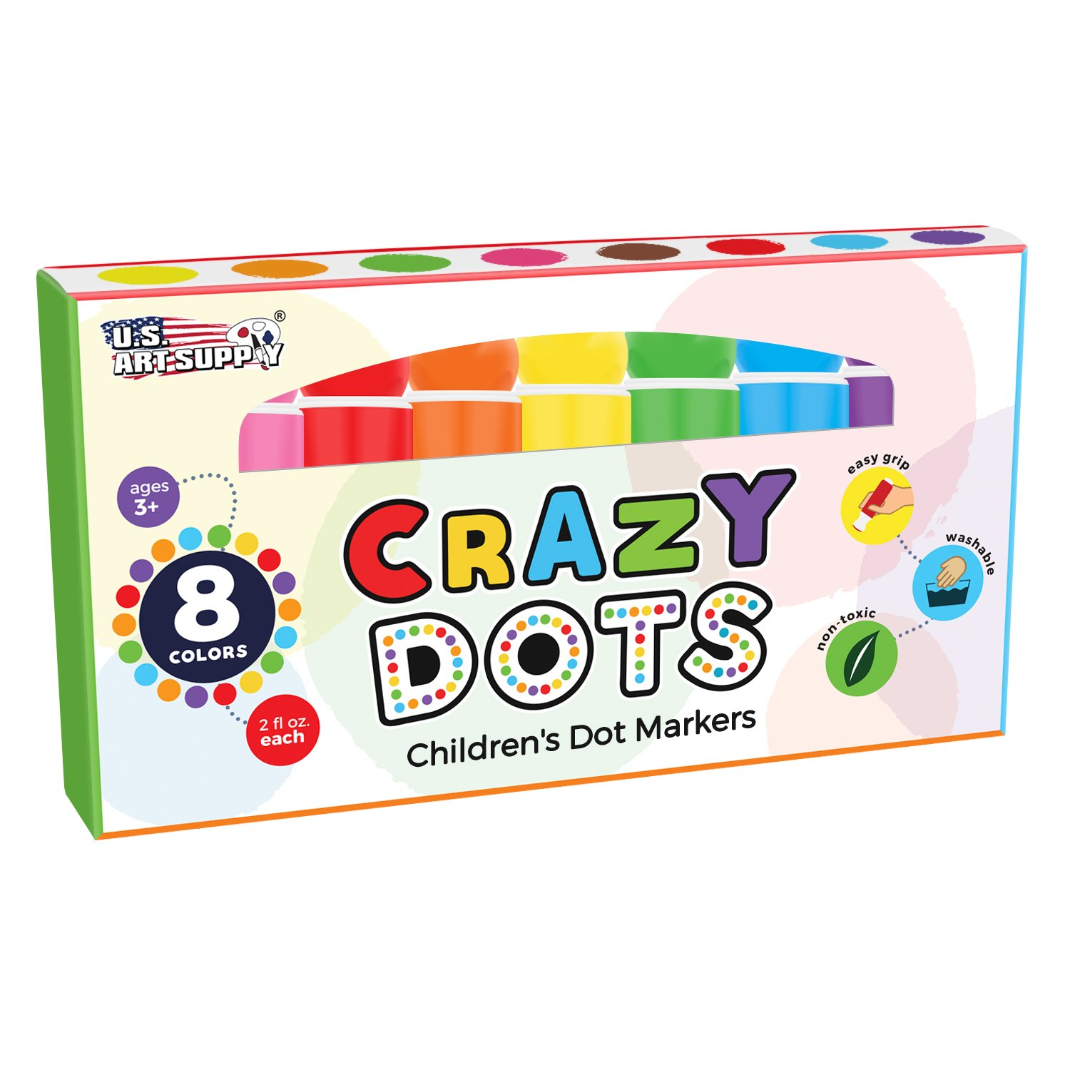 U.S. Art Supply 8 Color Crazy Dots Markers - Children's Washable Easy Grip Non-Toxic Paint Marker Daubers by US Art Supply (Image #6)