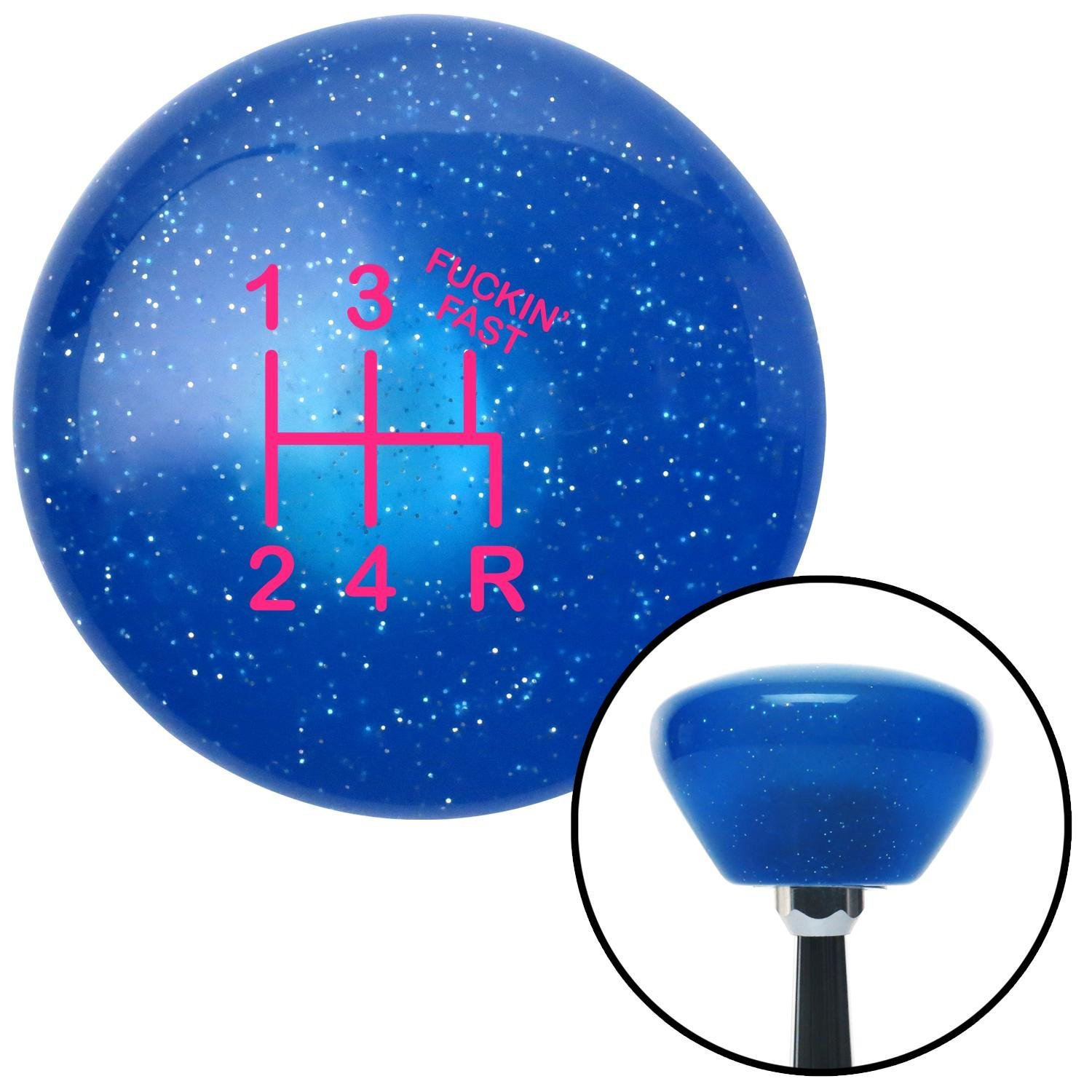 American Shifter 192245 Blue Retro Metal Flake Shift Knob with M16 x 1.5 Insert Pink Shift Pattern Fcking Fast Style 15n