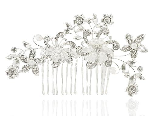 Strass accessori per capelli fiori per capelli pettine matrimonio sposa  capelli gesteck Perle Argento  Amazon.it  Gioielli 26bb013490f1