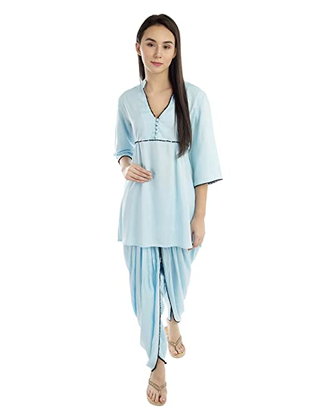 5c4752f828 Patrorna Women s Top and Dhoti Set Night Suit in Ocean Blue(Size S