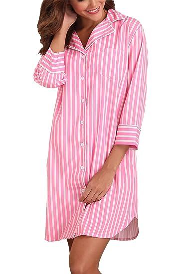 Giorzio Damen Nachthemd Knopfleiste Baumwolle Sleepshirt Kurzarm V-Ausschnitt Nachtwäsche Schlafanzugoberteil mit Brusttasche