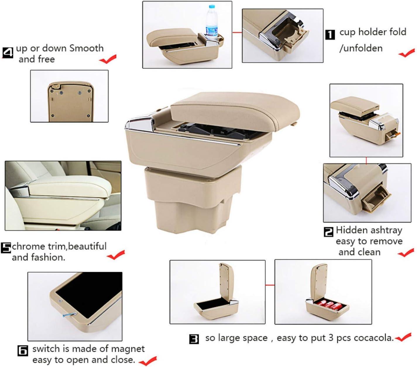 For F ord Fiesta 3 MK7 2009-2017 Armrest Box Centre Console Storage Box Arm Rest Car Interior Accessories Black