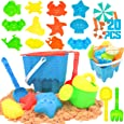 KIDPAR 20 Pcs Beach Sand Toys Set for Kids, Includes Castle Bucket, Animal Molds, Sand Sieve, Shovel Tool Kit, Watering Can and Mesh Beach Toy Bag, Fun Outdoor Games for Toddlers
