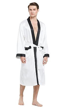e2771070208 LILYSILK Robe de Chambre en Soie Naturelle Peignoir Homme Classique  Ceinture à Nouer 22MM XS Blanc
