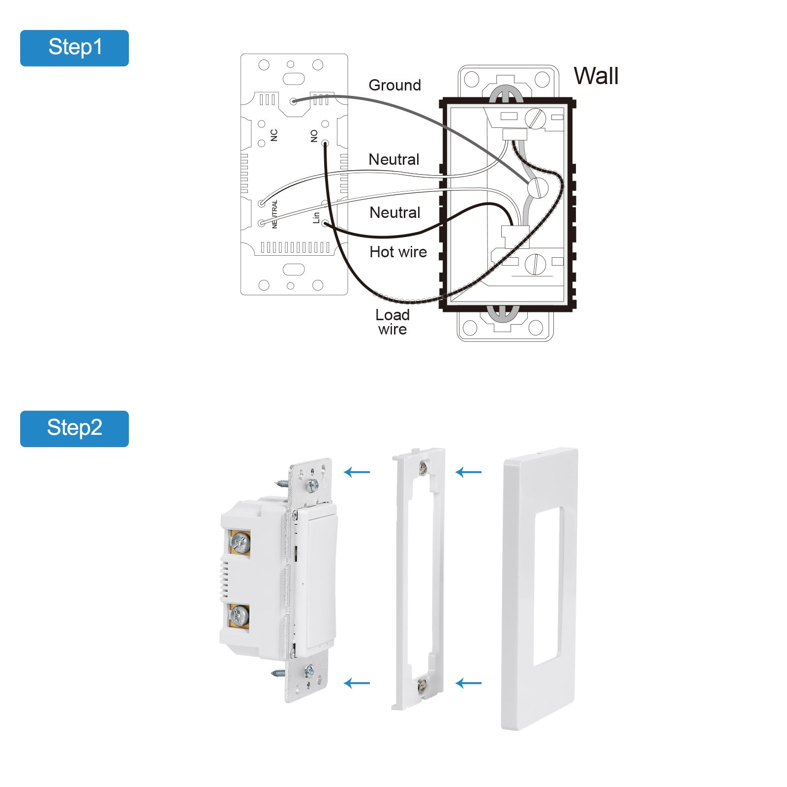 DEWENWILS Smart WiFi Light Switch In-wall, Wireless Remote Control, No Hub Required, Control Your Fixtures from Anywhere, Compatible with Alexa, Google Assistant and IFTTT by DEWENWILS (Image #7)