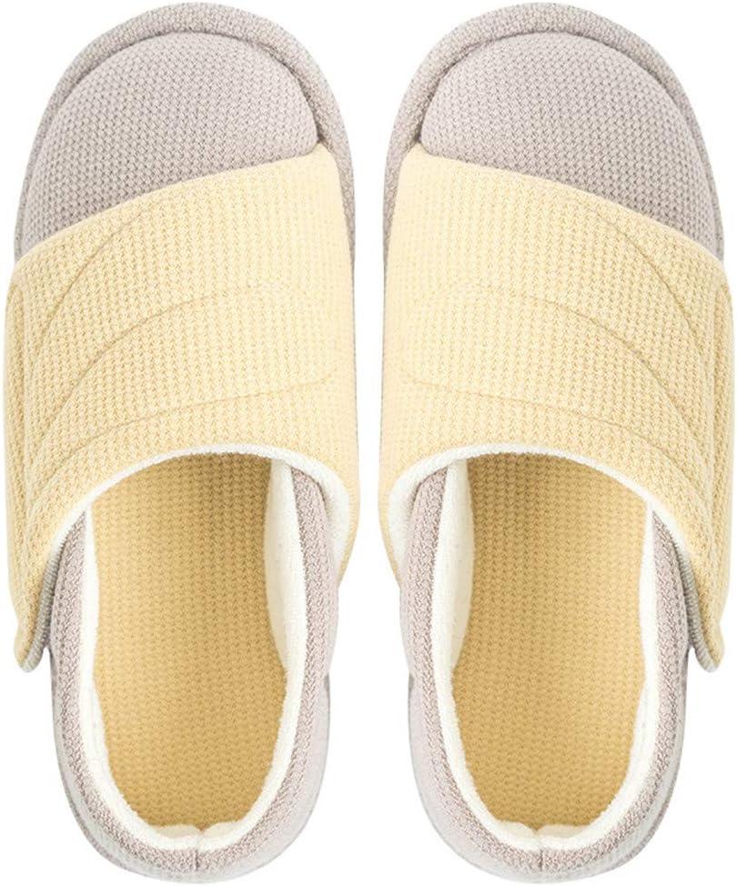 GRASSAIR Womens Zapatillas diabética Ajustable Plantar Fasciitis Edema juanetes Ortopédica juanetes Zapatos para Personas Mayores en pies de Ancho Artritis Inflamación,Amarillo,42