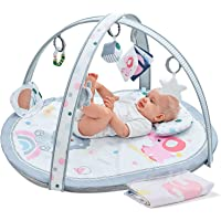 Baby Play Mat, ibabejoy Stage-Based Play Gym with 2 Machine Washable Mat Covers for Newborn to Toddler, 7 in 1 Activity…