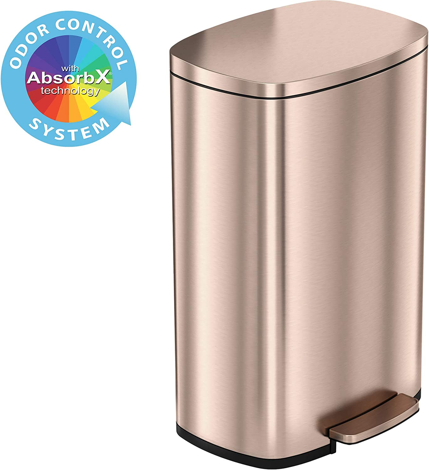 iTouchless SoftStep 13.2 Gallon Stainless Steel Step Trash Can with Odor Control System, 50 Liter Pedal Garbage Bin for Kitchen, Office, Home - Silent and Gentle Open and Close, Rose Gold