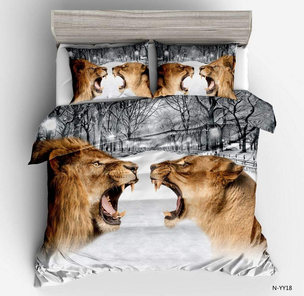 AMOR & AMORE 3D Animal Print Duvet Cover Sets, Reversible Kids Boys Girls Pretty Bedding Sets(Twin/Full/Queen) (Tiger, Queen)