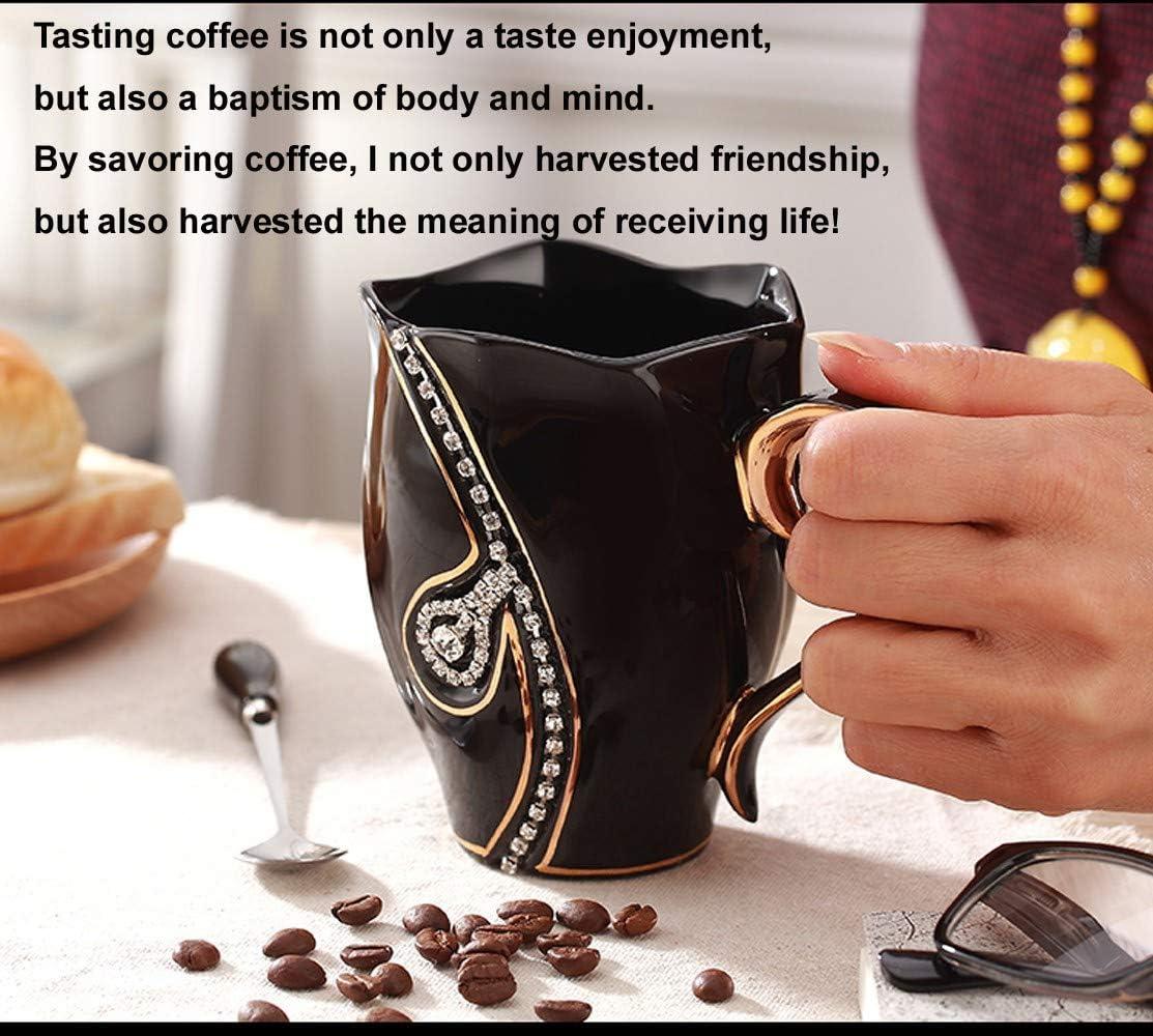 CYXStar Coffee Mug for Mom Ceramic Coffee Mug for Office Travel Coffee Cup Rhinestone Coffee Mugs for Women and Girls with Spoon Black