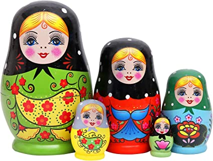 5pcs Green Female Pattern Printed Russian Nesting Dolls Babushka Gift Toys