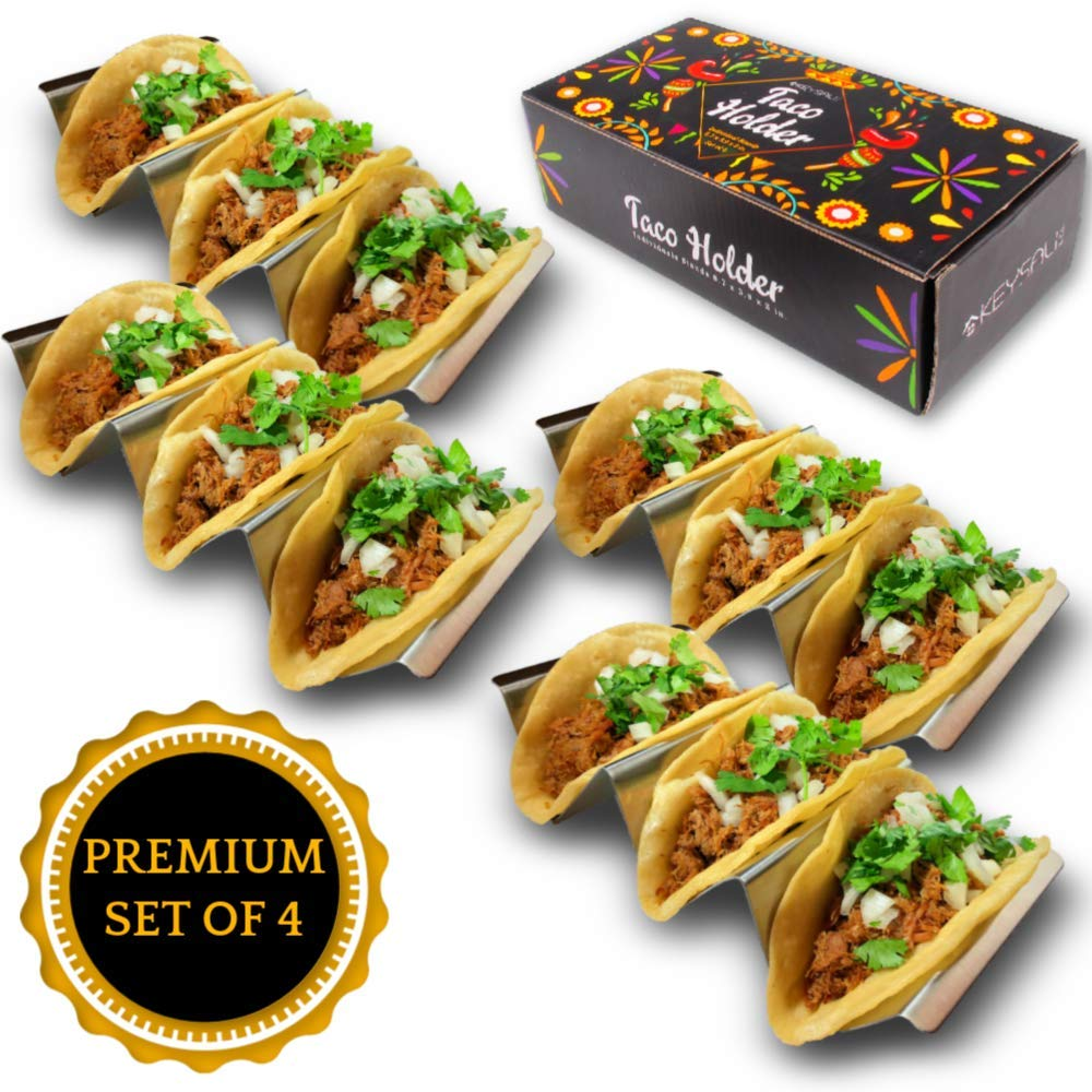 Stainless Steel Taco Holder Stand Rack with Handles by Keysali and Co. 4Pack Server Tray Set with 3 Shell Spaces - Holds 12 Hard Soft Tacos - Food Serve Platter - Oven Grill DishWasher Safe, BPA Free by Keysali (Image #1)