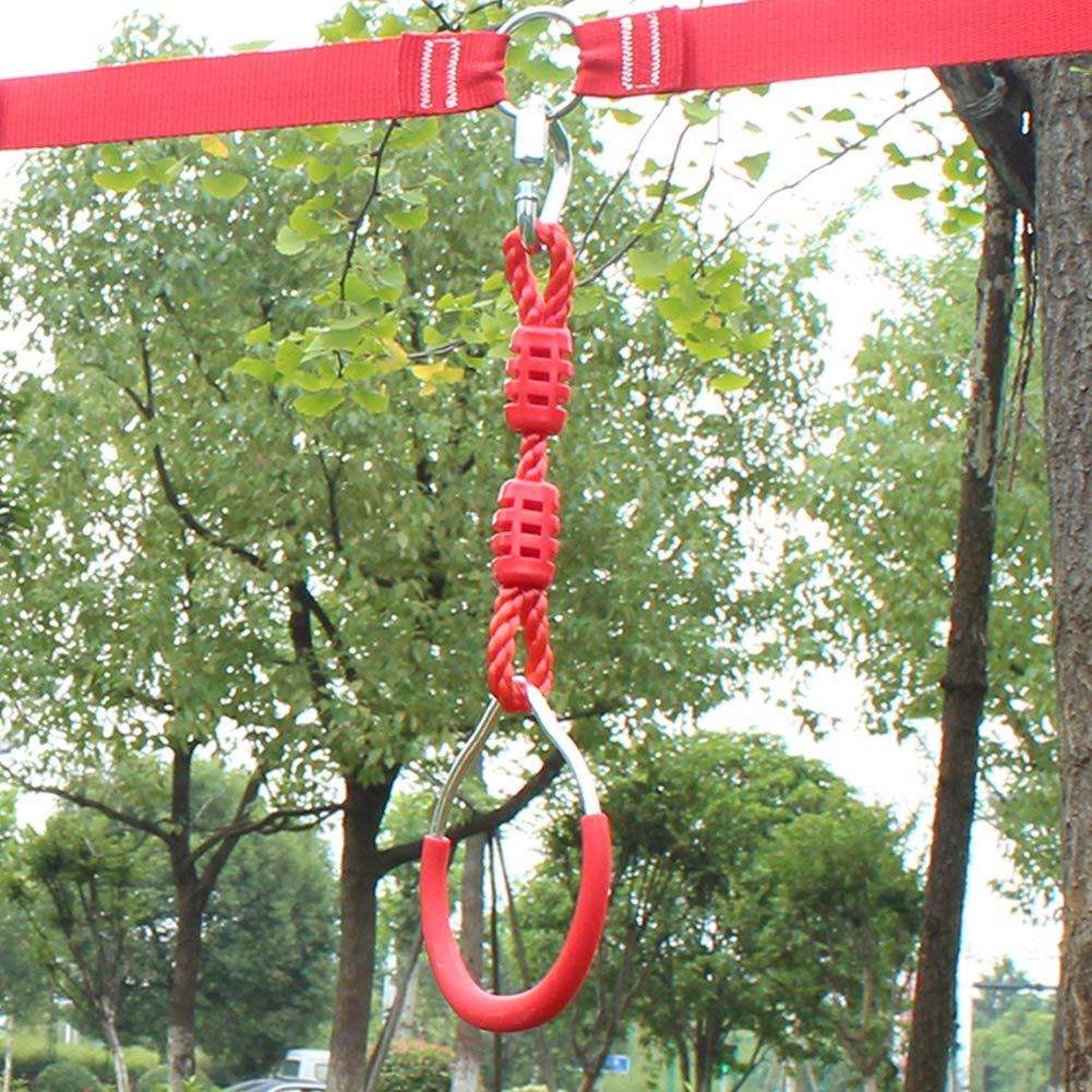 Hokilands Swing Gymnastic Ring for Slackline Obstacle Course, Outdoor Backyard Play Set for Kids Boys Girls, Playground Equipment for Ninja Line, Monkey Ring, Climbing Ring, Obstacle Ring, Red by Hokilands