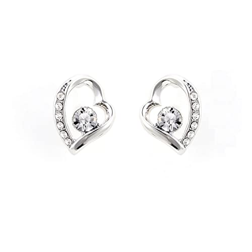 6956fd896 JULIANI 18k-Gold-Plated Love Stud Earrings - Fashion Hypoallergenic Heart 2  CTTW White