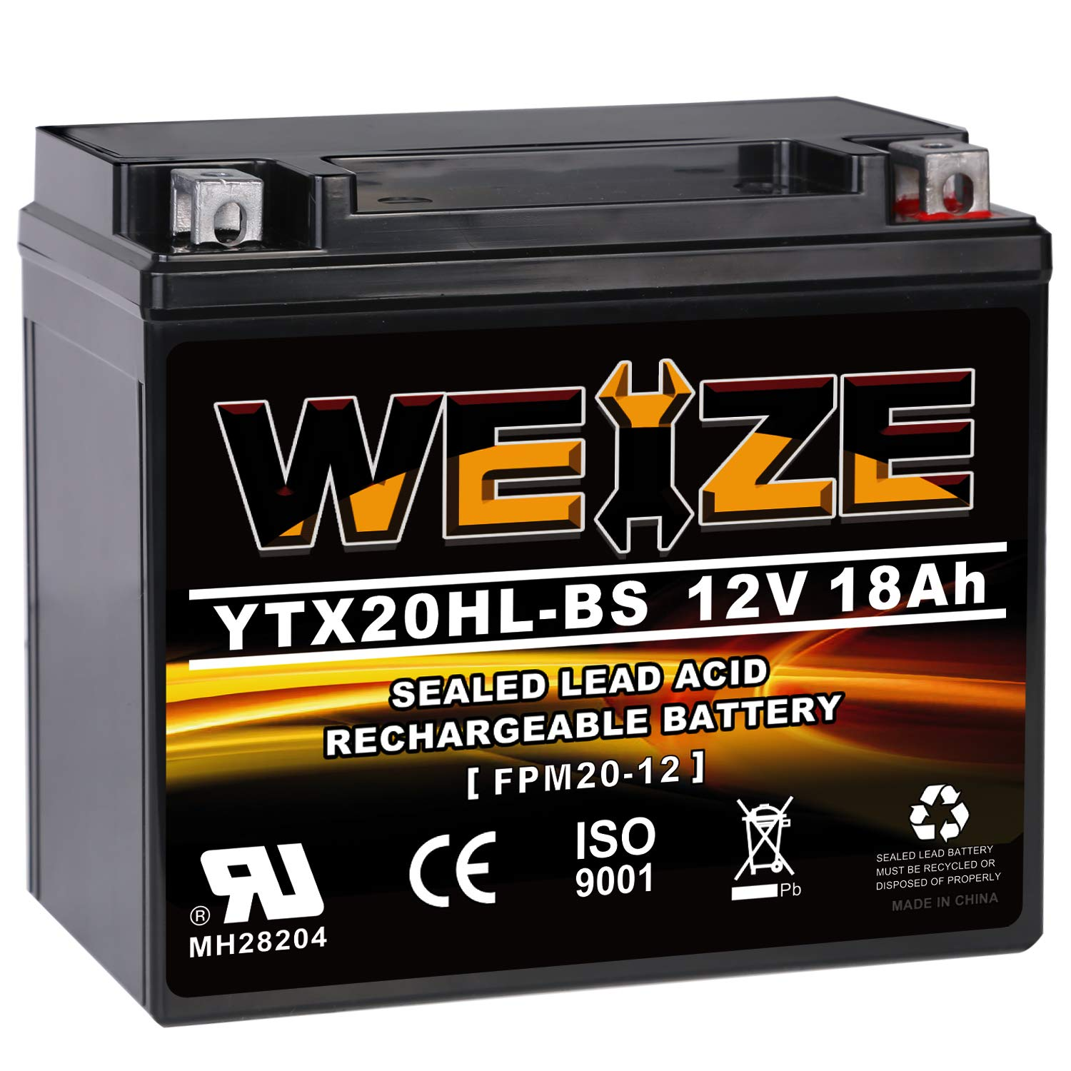 WEIZE YTX20HL-BS Battery, High Performance - Maintenance Free - Sealed AGM ETX20HL BS Motorcycle Battery by WEIZE