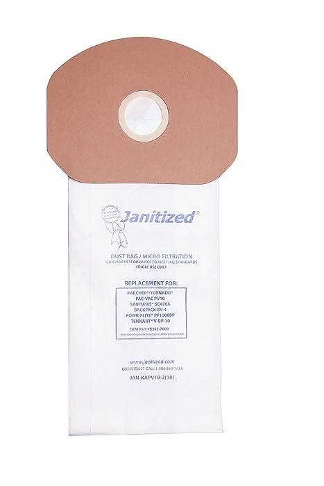 Janitized JAN-KAPV10-2(10) Premium Replacement Commercial Vacuum Paper Bag, Karcher/Tornado PV10, Power-Flite PF1000BP, Sanitaire SC420A, Tennant V-BP-10, OEM#B352-7800, 69370, 87537 (Pack of 10)