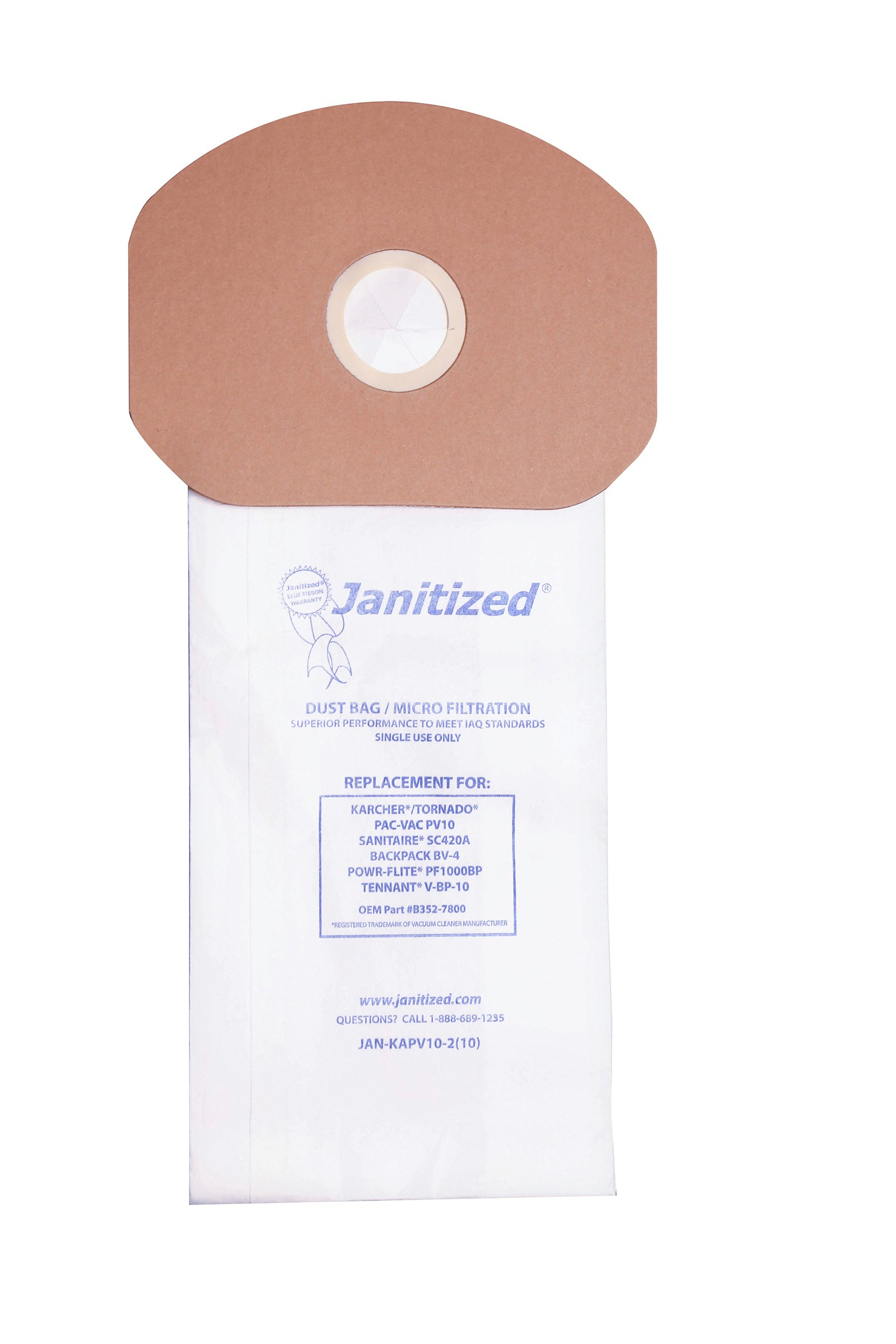 Janitized JAN-KAPV10-2(10) Premium Replacement Commercial Vacuum Paper Bag, Karcher/Tornado PV10, Power-Flite PF1000BP, Sanitaire SC420A, Tennant V-BP-10, OEM#B352-7800, 69370, 87537 (Case of 100) by Janitized