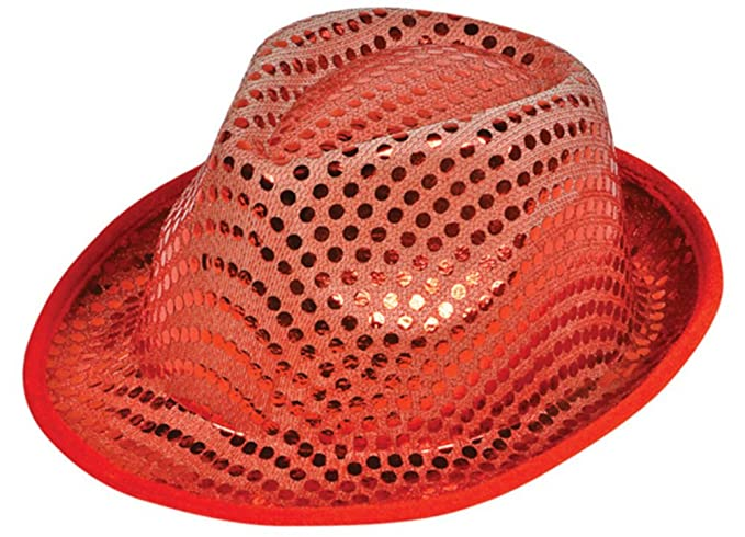 58078579a1b Amazon.com  Funky Red Sequin Roaring 20s Gangster Fedora Hat  Clothing