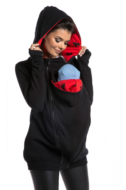 Zeta Ville - Women\'s Maternity Sweatshirt Hood Removable Panels Pregnancy - 059c carrier_top_059