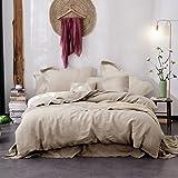 Merryfeel Linen Duvet Cover Set,100% French Linen Duvet Cover Set - Full/Queen Natural