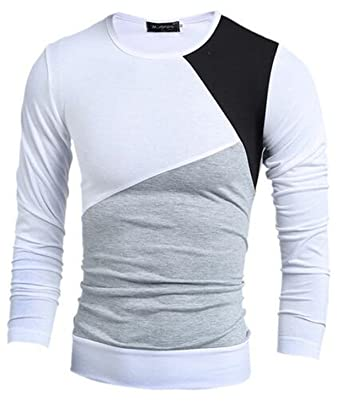 RENXINGLIN Cosy Mens Long Sleeve T shirt Stitching Crewneck Slim T-Shirt Camisetas Fashion Shirt