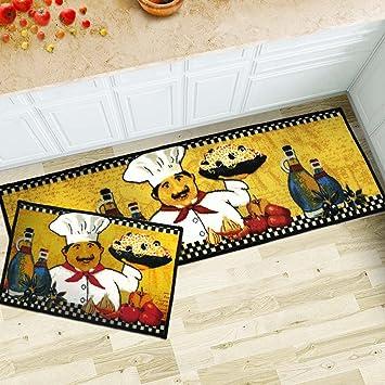 MAXYOYO 2 Pieces Fat Chefs Kitchen Floor Mats Runner Rug Set,Kitchen Area  Rug,