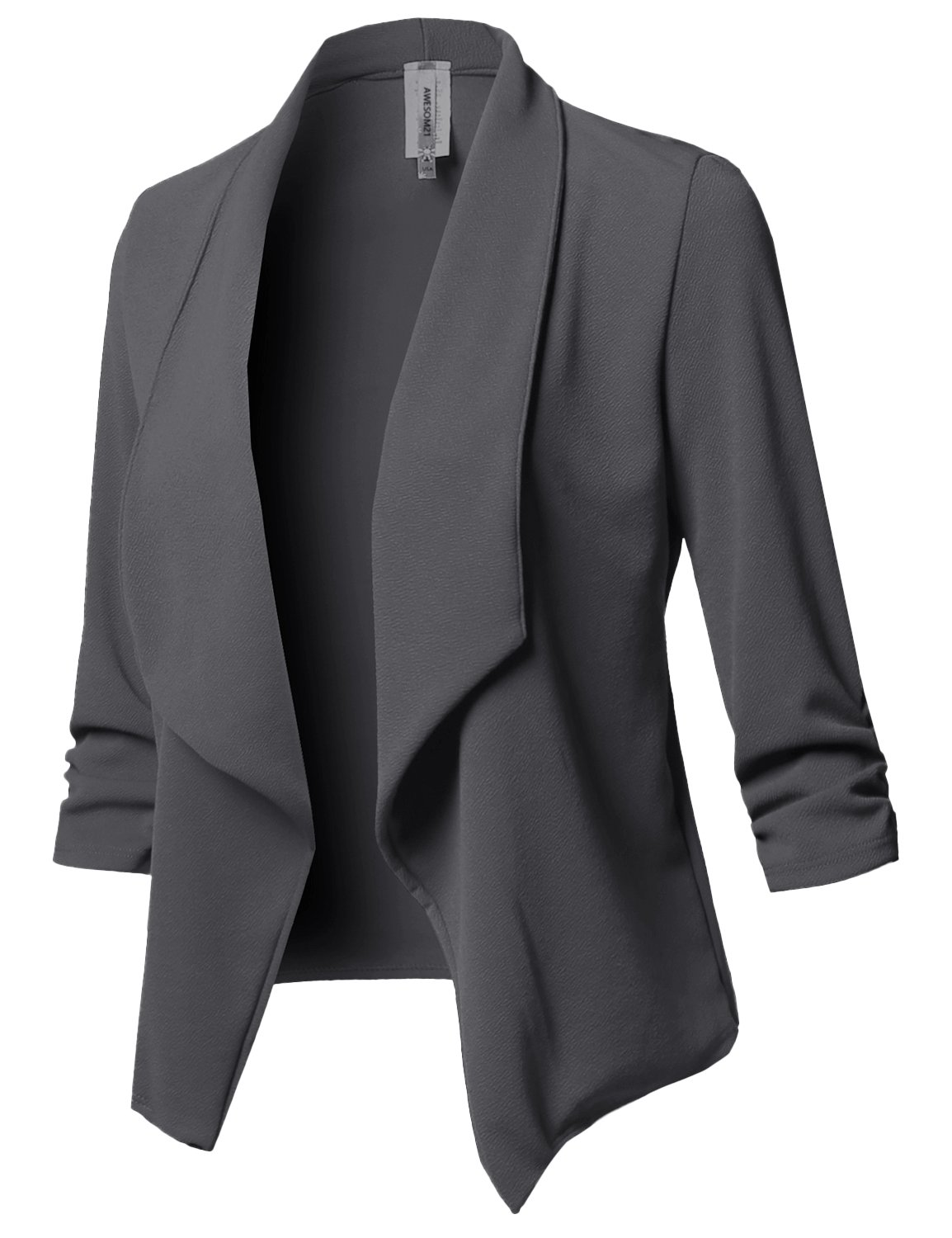 Awesome21 Solid Stretch 3/4 Gathered Sleeve Open Blazer Jacket Charcoal Size 2XL