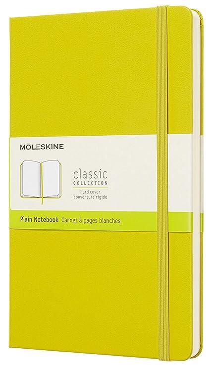 Moleskine Notebook Classic Pagina Bianca, Taccuino Copertina Rigida e Chiusura ad Elastico, Colore Giallo Dente di Leone, Dimensione Large 13 x 21 cm,