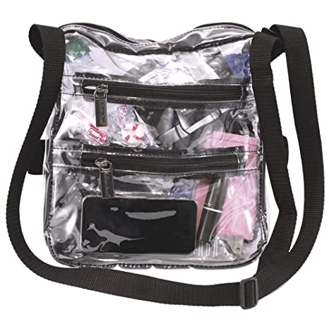 66a2a4a2e230 Image Unavailable. Image not available for. Color  Bravo Enterprise Clear  Cross-Body Messenger Shoulder Bag Tote Adjustable Strap