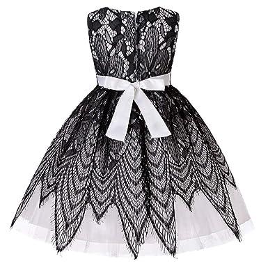 6eb23ba8f863f BaZhaHei Robe de Anniversaire Bébé Fille Noir Dentelle Patchwork Princesse  Mariage Robe Enfant Robe de Soirée