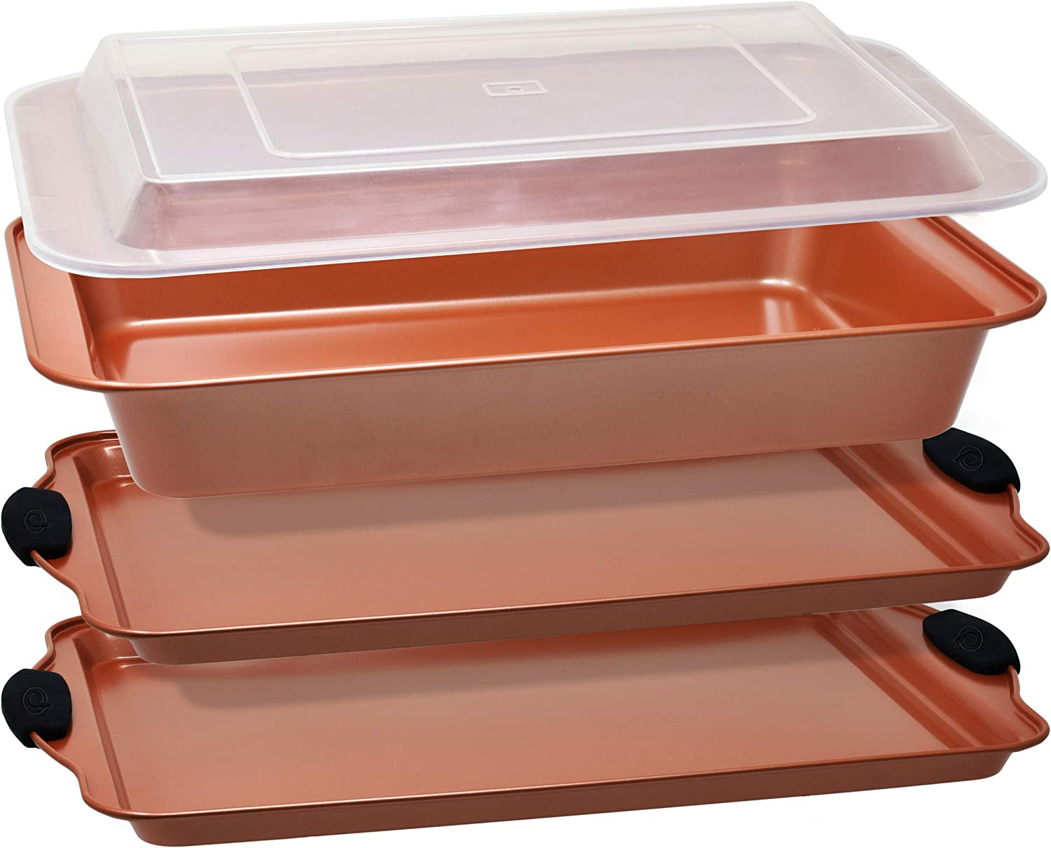 Copper Baking Sheet Pans Nonstick Bakeware Set 4 Piece includes 2 Large Cookie Sheets with Black Silicone Handles a 9x13 Rectangular Cake Pan Plus a Clear Plastic Cover for Easy Storage by PERLLI