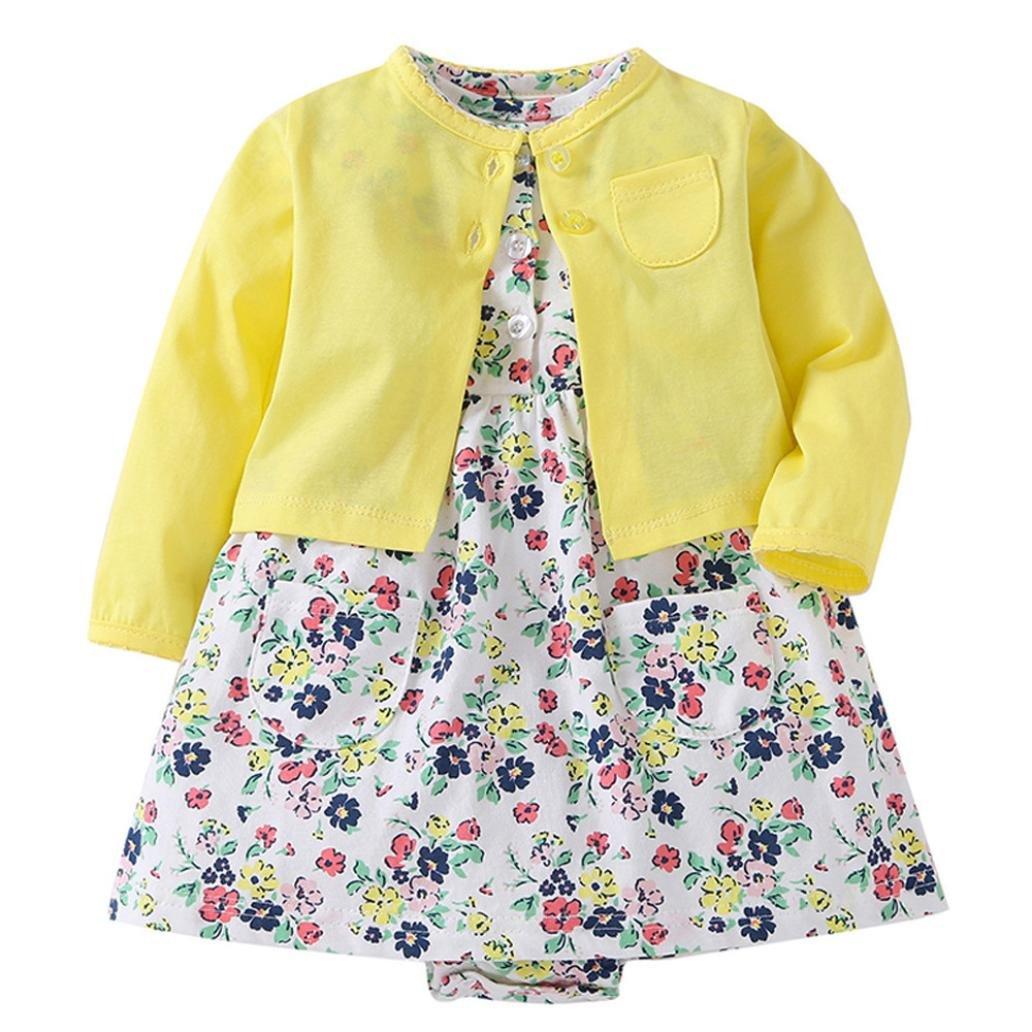 Mädchen Kleid + Mantel Kleidung Set, OverDose Neugeborenen Baby Mädchen Floral Blumen Bluse Kleid + Feste Mantel Outfits Kleidung Set OverDoseBabyNov.13