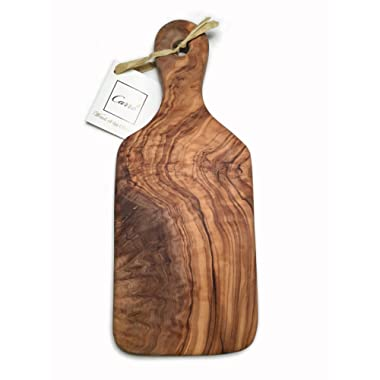 Carre Gourmet Small Olive Wood Charcuterie and Cheese Board Ideal for Meat, Brie and Crackers. Unique Handcrafted Thick Cutting Board - The Perfect Housewarming Gift