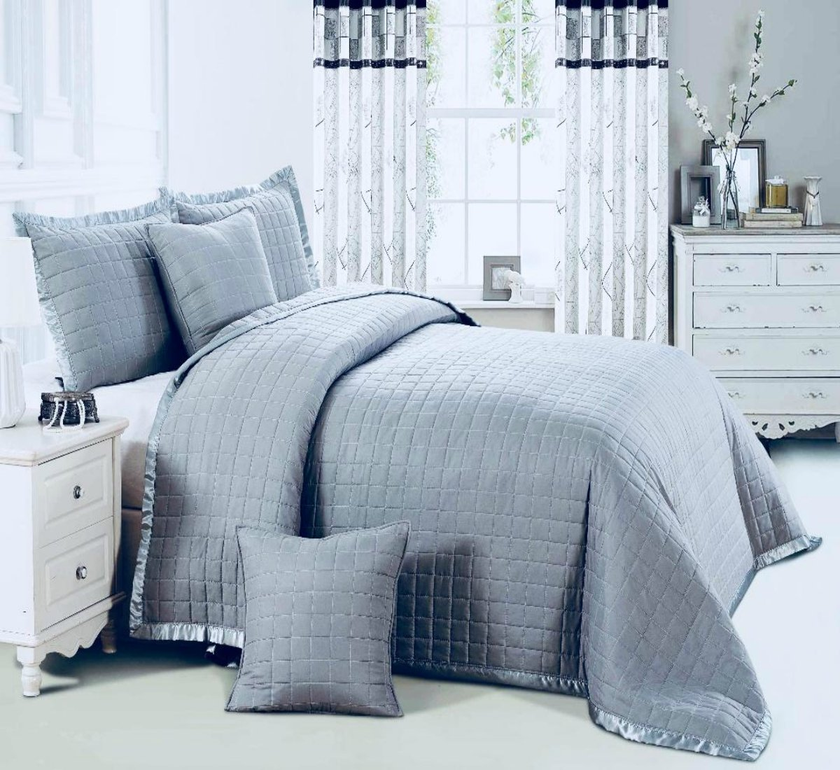 3 Pieces Osca Bedspread Comforter Border Quilted Bed Throw (White, Double) PL