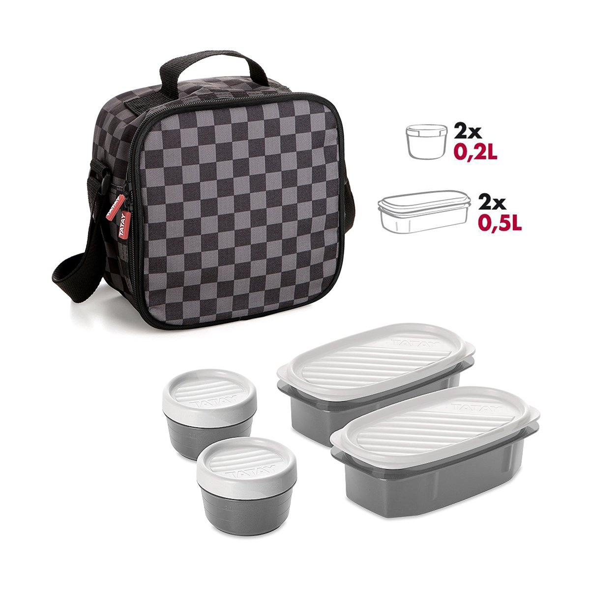 Negra Bolsa T/érmica Porta Alimentos con 4 Tapers Herm/éticos a Juego Compacta y Practica