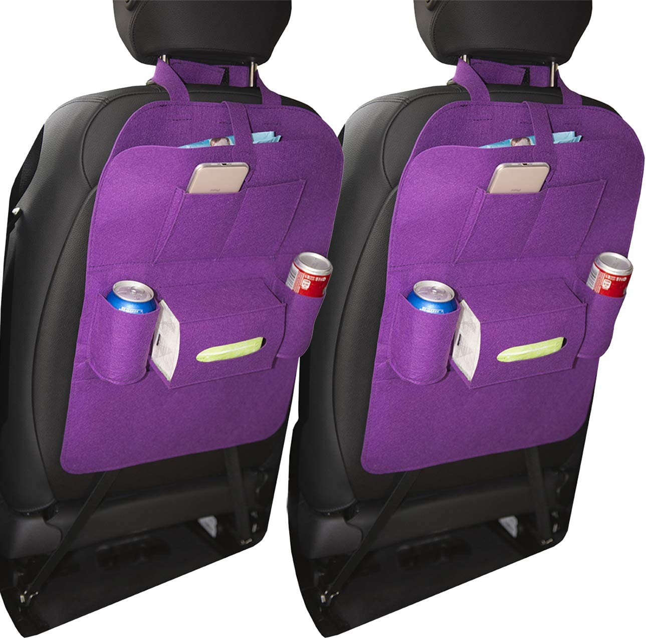 2 Pack, Black Uheng Car Back Seat Organizer Backseat Organizer Baby Kids Kick Mats Car Protector with 7 Multi Pocket Storage Bag Holder for iPad Tablet Bottle Drink Tissue Box Toys