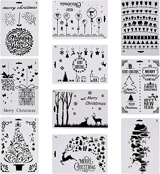 Christmas Decor Reusable Christmas Drawing Painting Santa Footprint Stencils for Greeting Cards Wall Art Wood Journal 12/×6 Inch LLGLTOMO 6 Pack Christmas Stencils Templates Notebook Albums