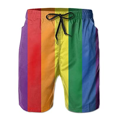 LianXiYou Men Sports High Stretch for Surfing with Mesh Lining Swim Trunk