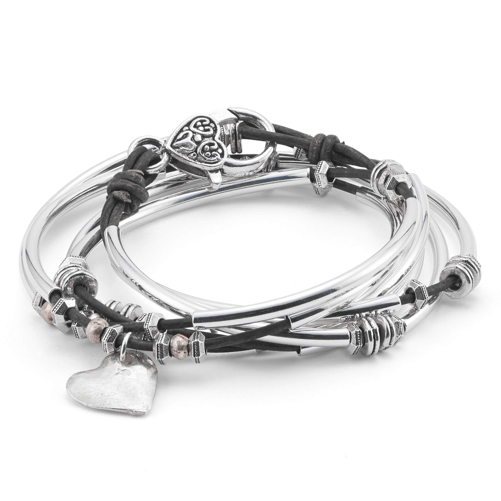 Lizzy James Double Love Silver Heart Charm Wrap Bracelet in Natural Black Leather (Medium) by Lizzy James
