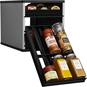 YouCopia Original SpiceStack 18-Bottle Spice Rack Organizer with Universal Drawers, Silver, Small