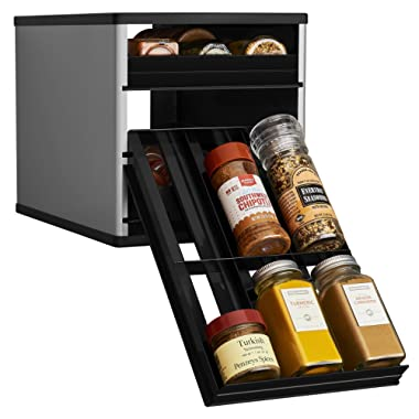 YouCopia 02181-02-SLV Original SpiceStack 18-Bottle Spice Rack Organizer with Universal Drawers, Silver