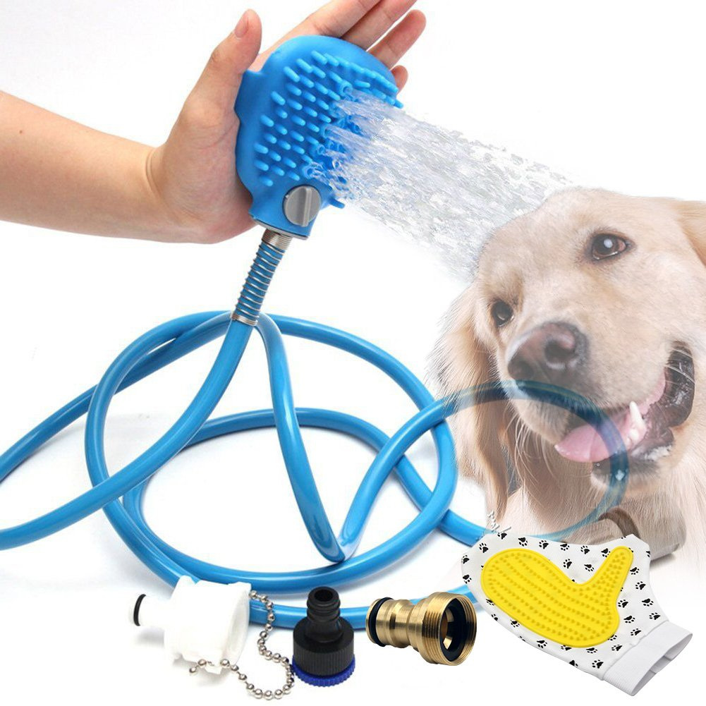 HAONO Pet bathing tool | Pet shower Sprayer for dog and cat Bathing massage combo with Pet Grooming Glove and 3 Hose Adapters, Indoor/Outdoor Use (Blue 8ft)