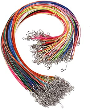 Outuxed Bulk Necklace Cord,150pcs Multicolor 1.5mm Waxed Cotton Chain with Lobst