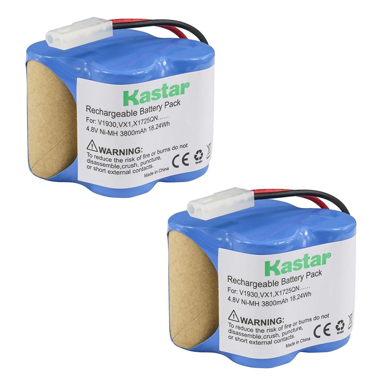 Kastar V1930 Battery (2 Pack), Ni-MH 4.8V 3800mAh, Replacement Euro Pro Shark X1725QN, V1700Z, VX1, VAC-V1930, V1930, X8905 Cordless Sweeper Vacuum Cleaner
