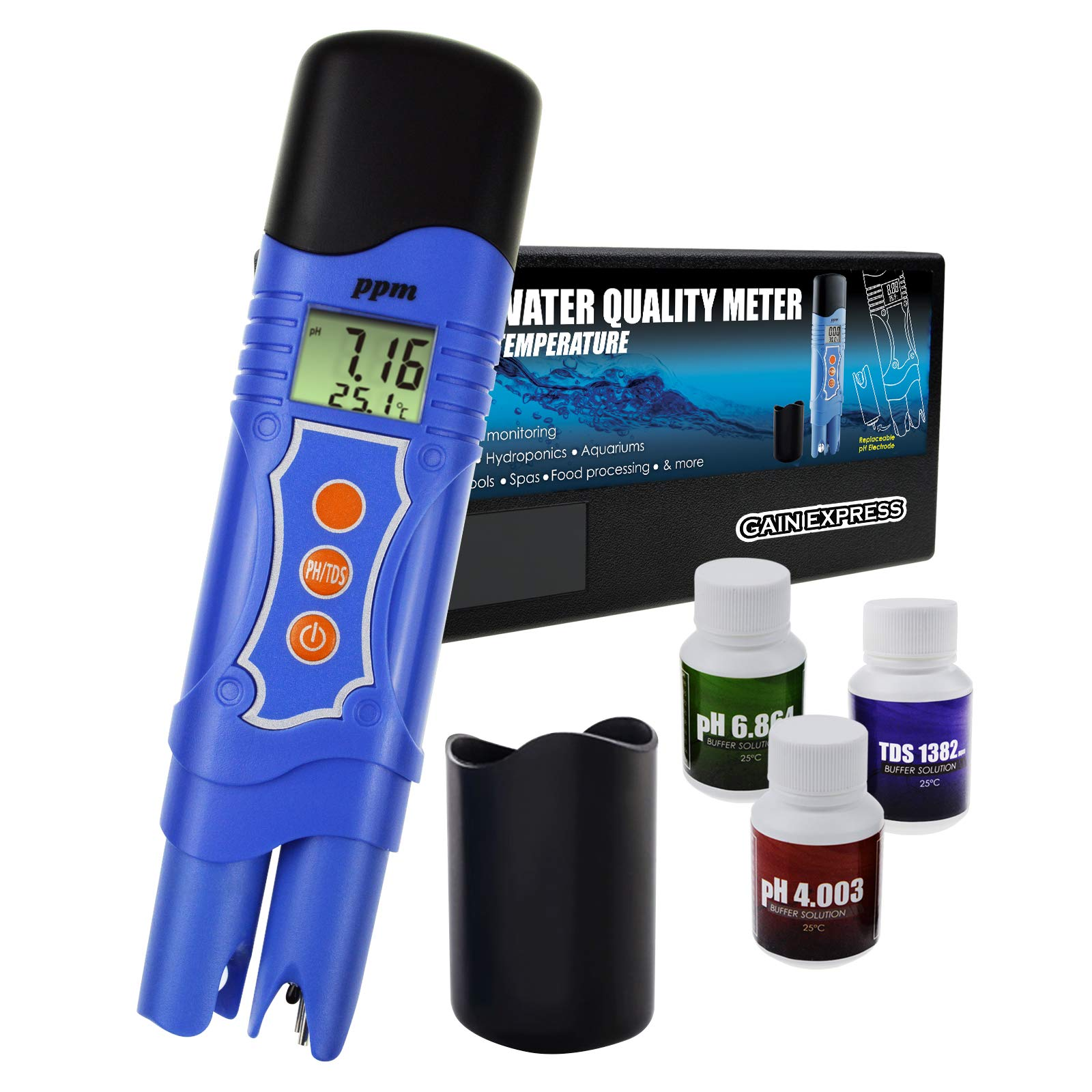 Gain Express 3-in-1 pH/TDS/Temperature Meter Combo Water Quality Tester Digital Pen-Type with ATC 0.00~14.00pH 0~1999mg/L(ppm) for Laboratories, Hydroponics, Aquariums, Pool, Spa