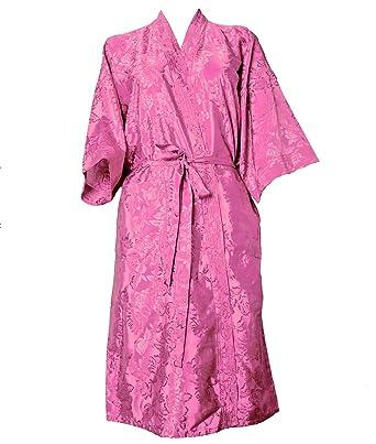 cafd1fc695 Artiwa Unisex Lightweight Silk Kimono Bathrobe for Women   Men Rose Pink